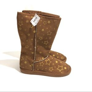 AIRWALK Girl's 3 Brown Gold Star Print Lined Boots